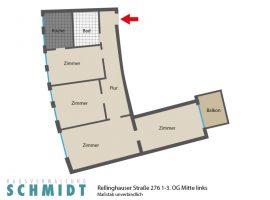 Essen Bergerhausen. Wohnung mit Balkon + Wohnküche! Modernes Badezimmer! Übernahme Einbauküche möglich!