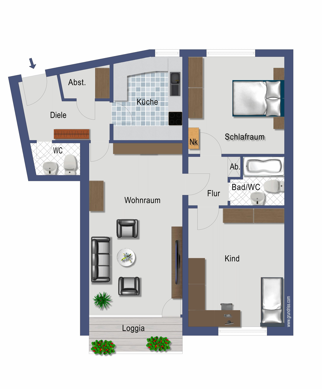 Moderne 3 Zimmer Wohnung Mit Balkon Und Gaste Wc Hausverwaltung