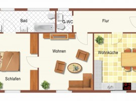 2,5 Raum Wohnung in der 1.OG in guter Wohnlage.
