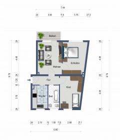 Modernisierte 3-Zimmer-Wohnung mit Balkon! Zentrale Wohnlage!