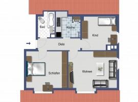 Komplett modernisiert im Jahr 2018! Schöne 3-Zimmer-Dachgeschosswohnung!