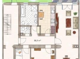 Außergewöhnliche 4-Raum-Wohnung mit Kamin, Wintergarten und Garten zur alleinigen Nutzung