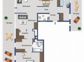 3,5 Raum Wohnung mit 104 m² - 2 x Dachterrassen - G-WC -zentrale Wohnlage.